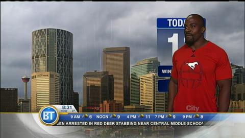 The Calgary Stampeders do the weather on BT Calgary