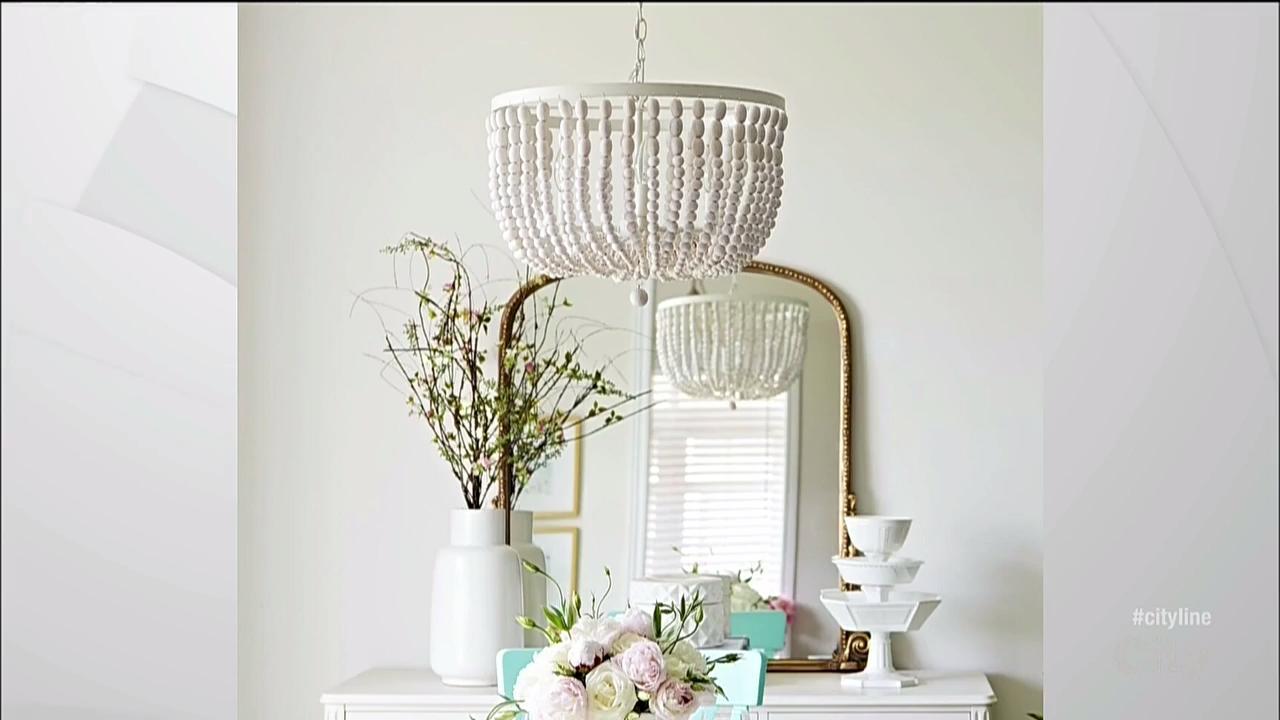 A DIY wood bead chandelier
