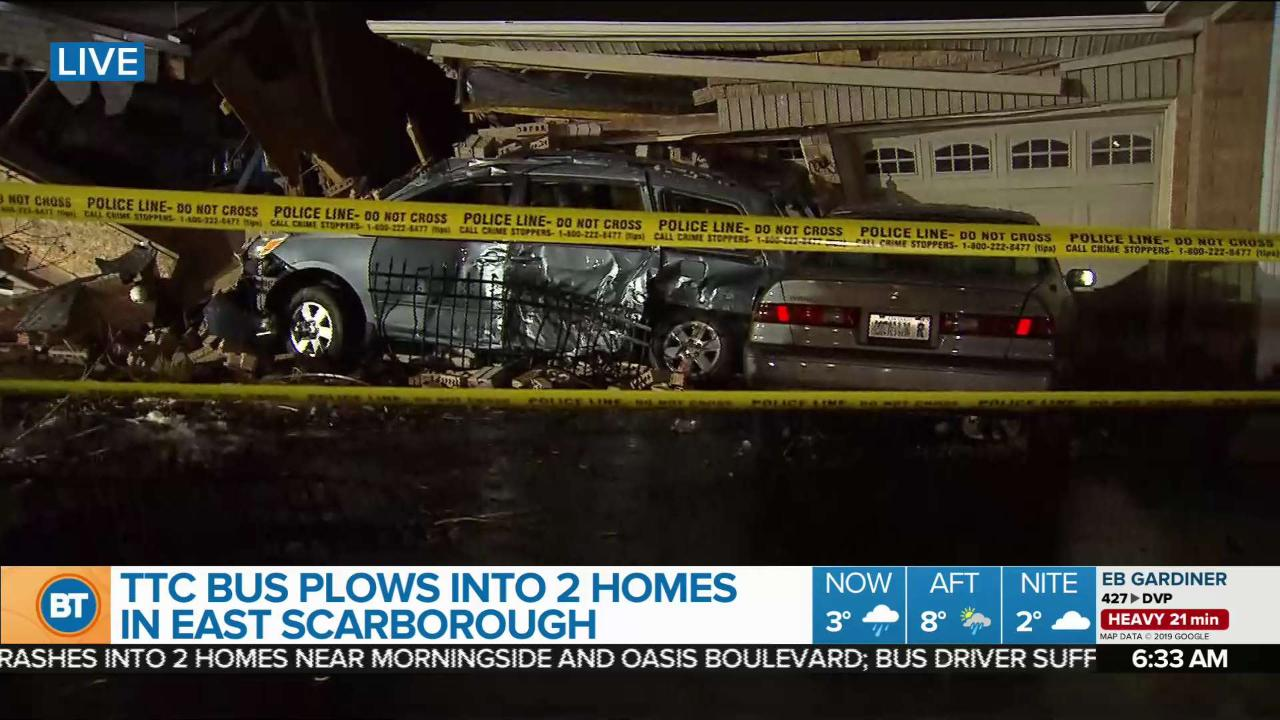TTC bus crashes into 2 Scarborough homes