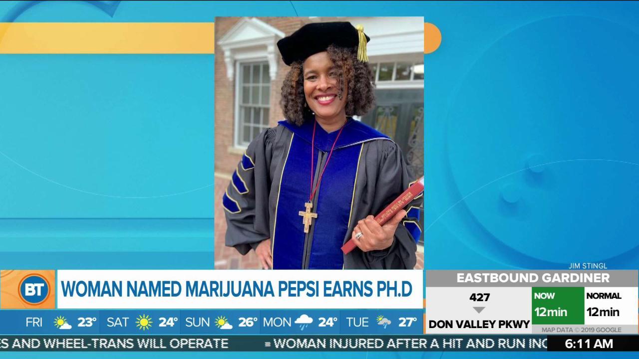 Woman named Marijuana Pepsi earns PhD